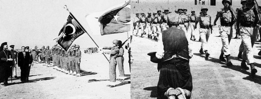 Αριστερά, ο Πρόεδρος Μακάριος με τον Τουρκοκύπριο αντιπρόεδρο Κιουτσούκ επιθεωρούν την Τουρκική Δύναμη κατά την ανακήρυξη της Κυπριακής Δημοκρατίας στις 16 Αυγούστου 1960. Δεξιά, την ίδια ημέρα παρελα