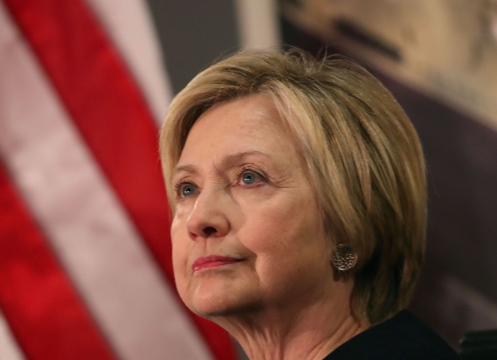 WASHINGTON, DC - JANUARY 10:  Former Secretary of State Hillary Clinton speaks at a reception celebrating the completion of the U.S. Diplomacy Center Pavilion, at the State Department on January 10, 2017 in Washington, DC. The first floor of the pavilion was dedicated and named the Hillary Rodham Clinton Pavilion.  (Photo by Mark Wilson/Getty Images)