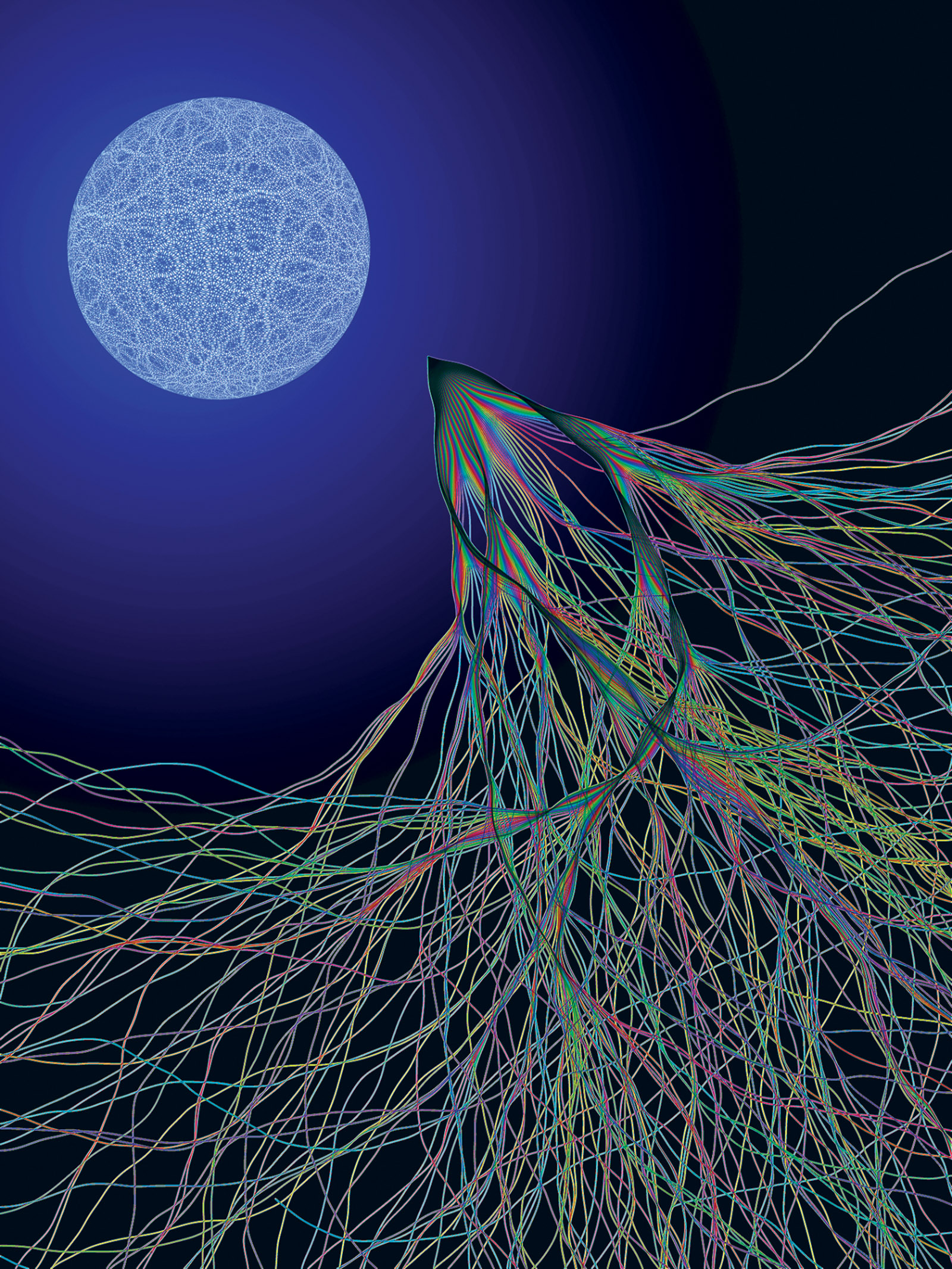 The physicist Eric J. Heller's <i>Transport XIII</i> (2003), inspired by electron flow experiments conducted at Harvard. According to Heller, the image 'shows two kinds of chaos: a random quantum wave on the surface of a sphere, and chaotic classical