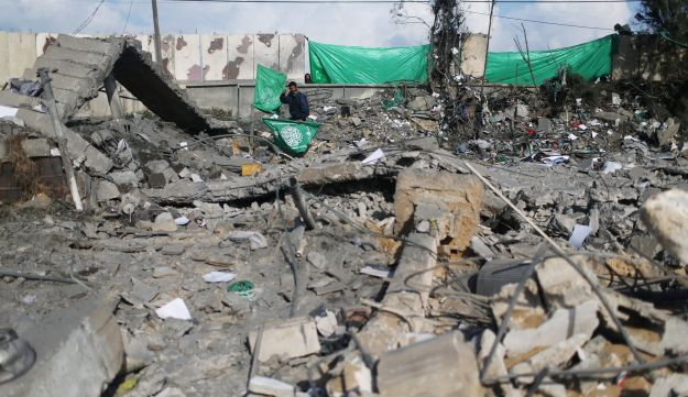 A Hamas site in Dir al-Balah that Gazan police say was hit by an Israeli airstrike, March 16, 2017.