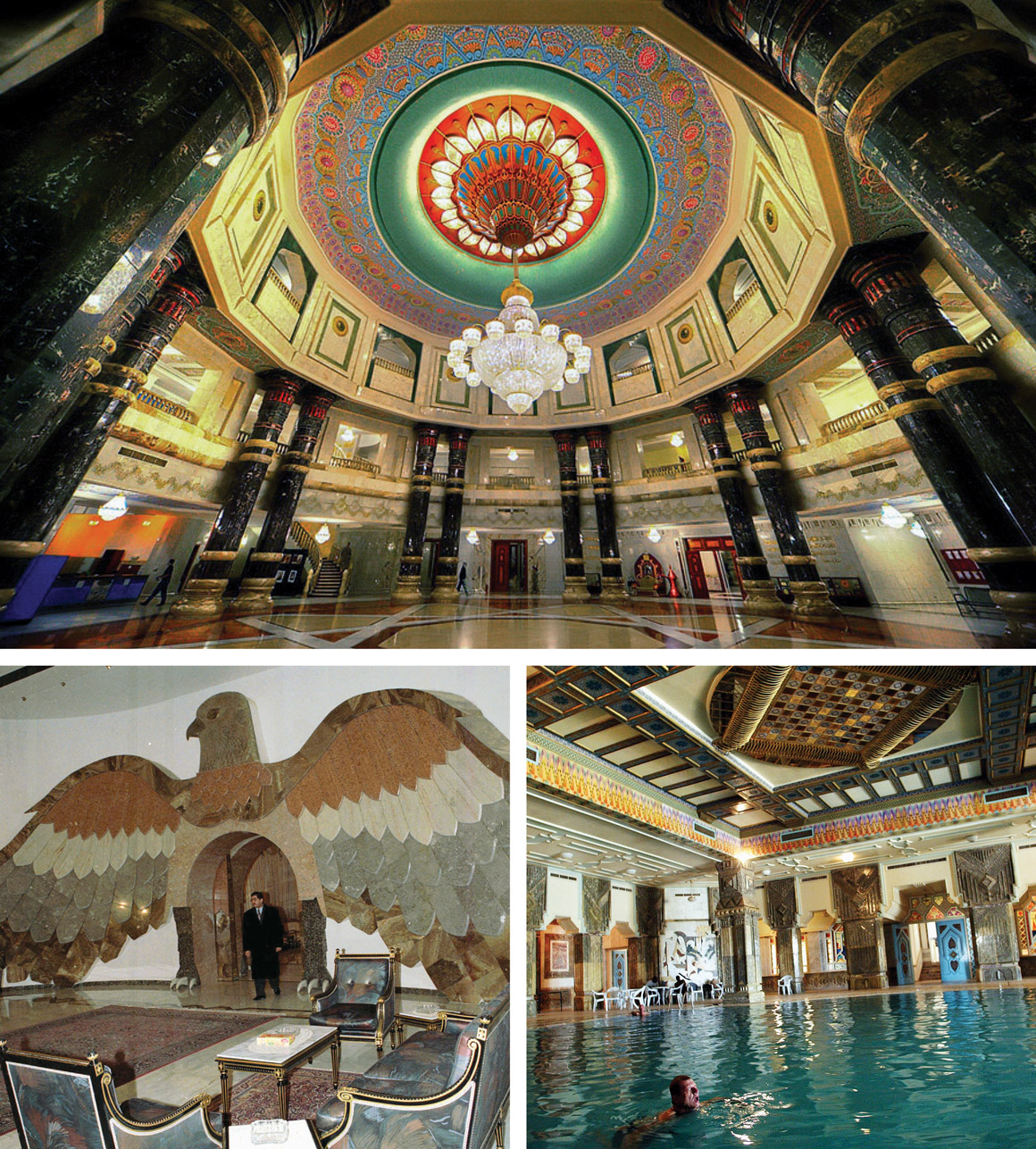 SADDAM HUSSEIN: The Iraqi president had dozens of palaces, villas, mansions and compounds around the country—many of which were converted into military outposts after the 2003 U.S. invasion. At top: the Al Faw palace in Baghdad; bottom left: a marble falcon in Baghdad; bottom right: a U.S. soldier swimming in a Tikrit palace in 2003, shortly after Hussein's ouster.