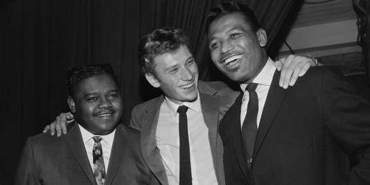Fats Domino, le 20 octobre 1962 avec Johnny Hallyday et Ray Sugar Robinson.