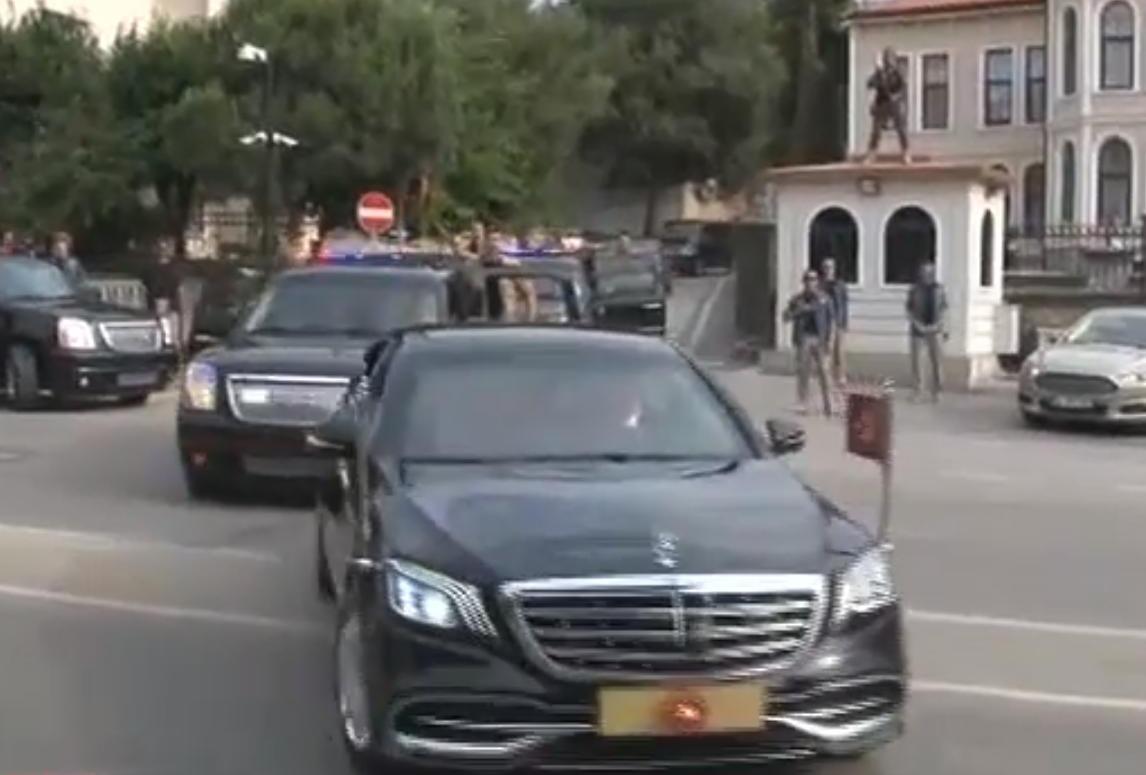 Η αυτοκινητοπομπή που συνοδεύει την προεδρική λιμουζίνα του Ερντογάν