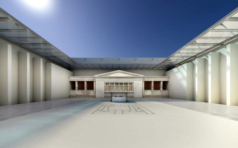 Σε φωτορεαλιστική απεικόνιση ο πάνω όροφος της πρόσοψης που αναταχθεί στο εσωτερικό του καινούριου μουσείου για λόγους στατικότητας