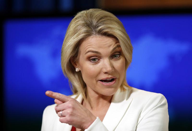 Η εκπρόσωπος του State Department Χίθερ Ναουερτ -Φωτογραφία: AP Photo/Alex Brandon
