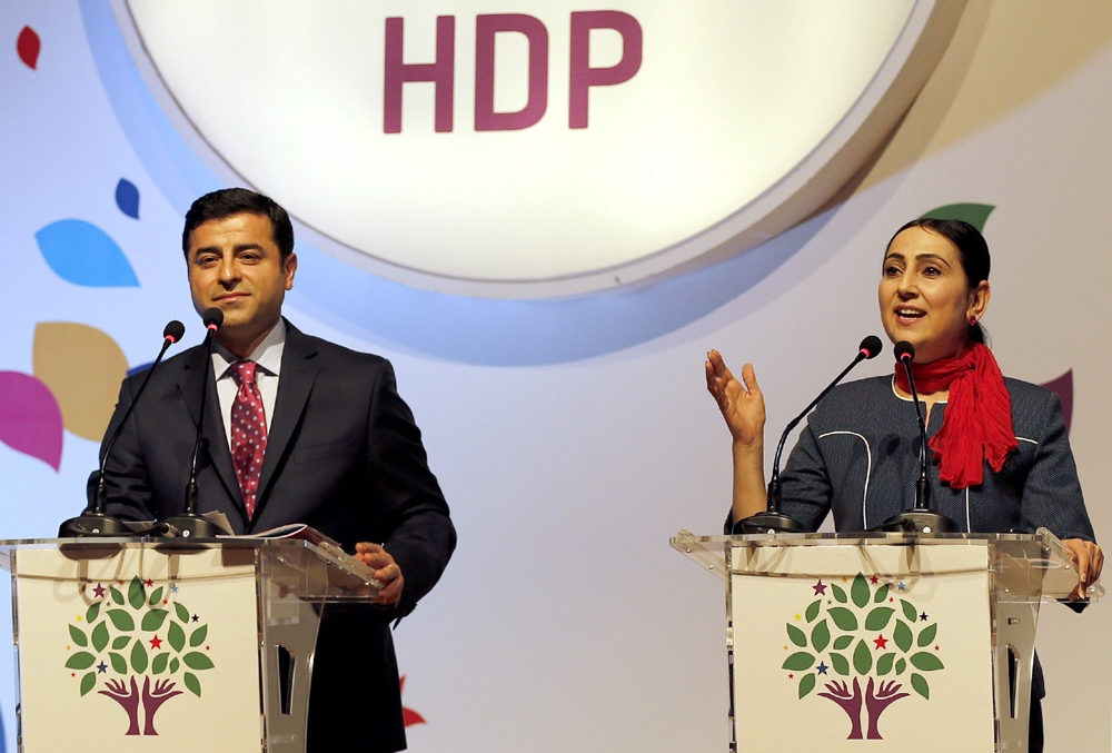 Pro-Kurdish Peoples' Democratic Party HDP co-leaders Yuksekdag and Demirtas detained